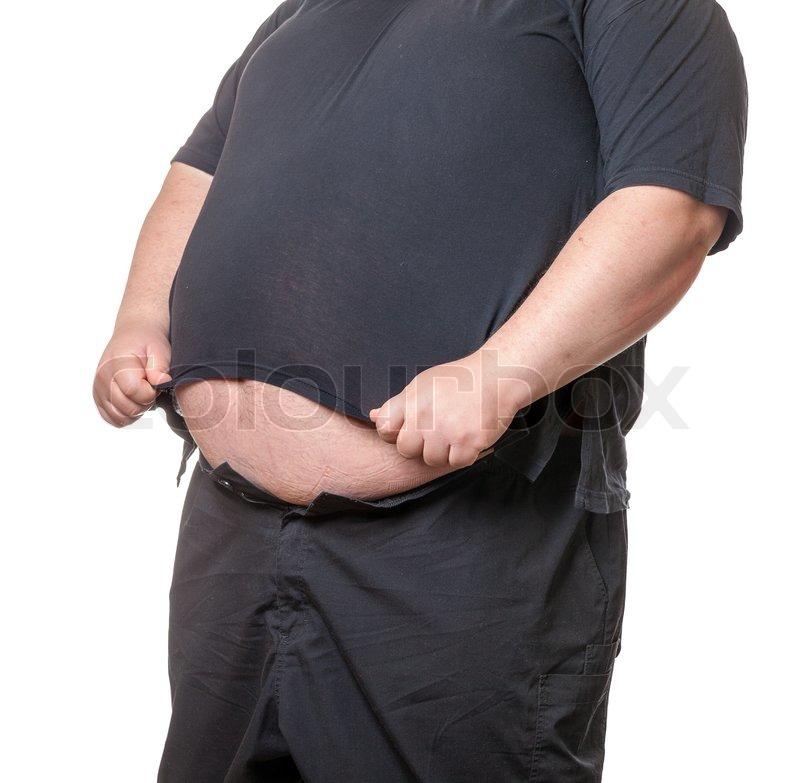 Fetter Mann mit einem dicken Bauch   Stockfoto   Colourbox