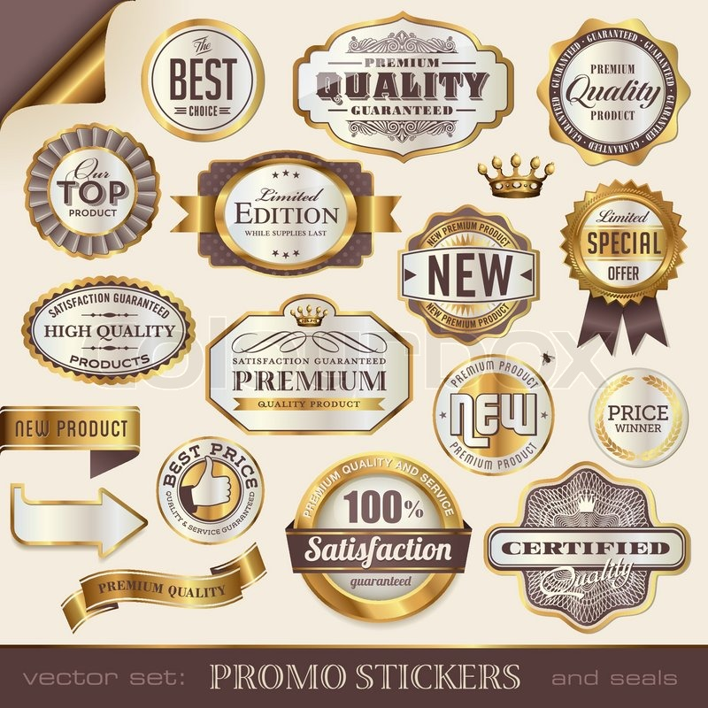 Golden promo stickers labels and seals stock vector colourbox