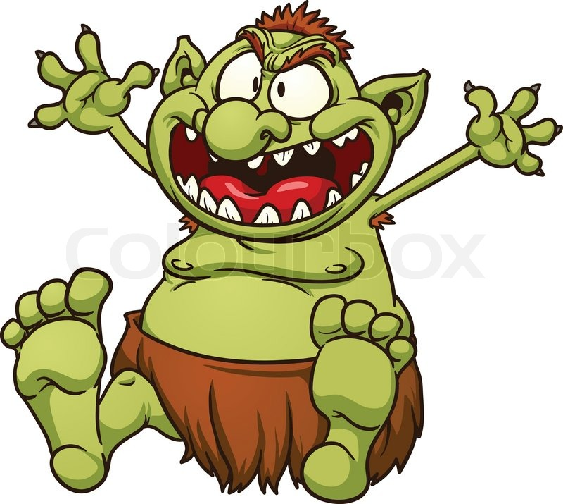 fat cartoon troll vector clip art illustration with simple