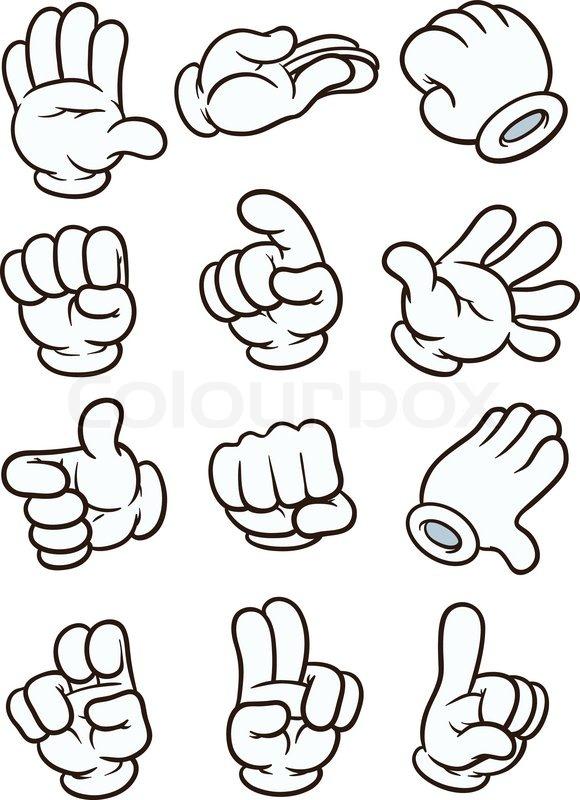 cartoon gloved hands vector clip art illustration each in a