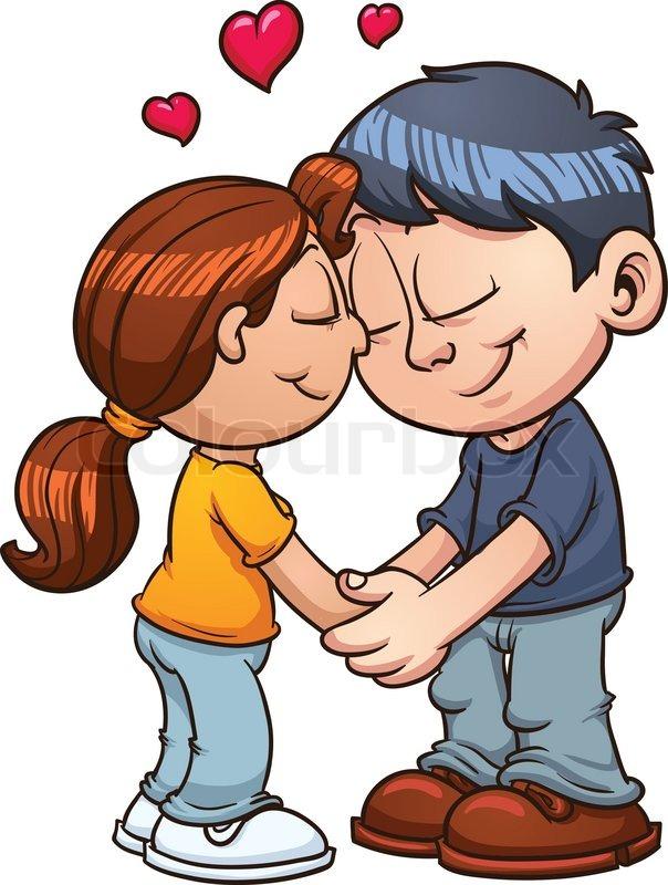 cute couple in love vector clip art illustration with simple rh colourbox com cute love heart clipart cute love birds clipart