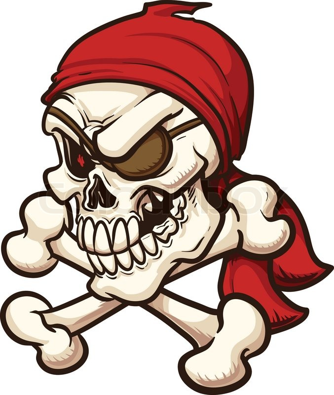 Pirate skull. Vector clip art illustration. All in a ...