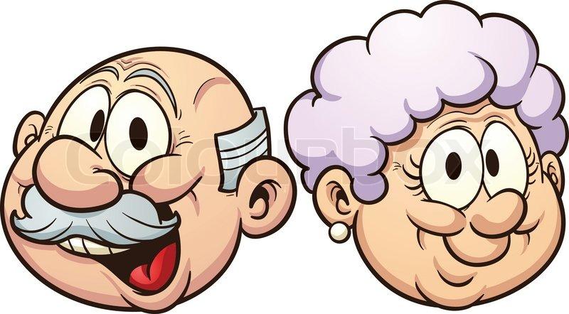 cartoon grandparents vector clip art illustration with