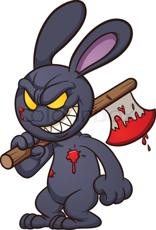 Cartoon Characters Evil : Evil cartoon black bunny vector clip art illustration
