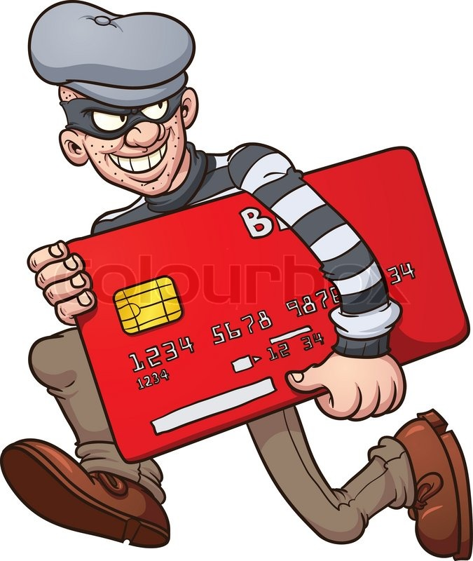 cartoon credit card thief vector clip art illustration with simple