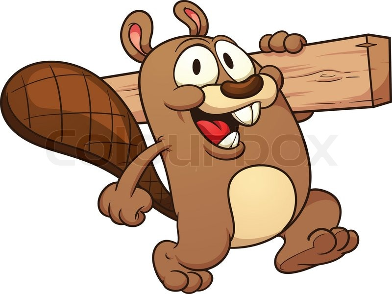 Cute Cartoon Beaver Holding A Wooden Plank.Vector Clip Art Illustration  With Simple Gradients. All In A Single Layer. | Stock Vector | Colourbox