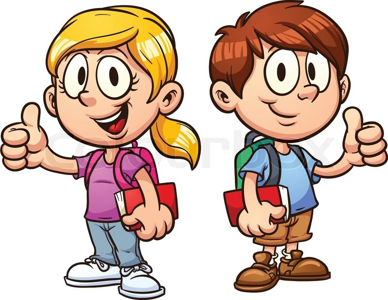 school kids vector clip art illustration with simple gradients all rh colourbox com