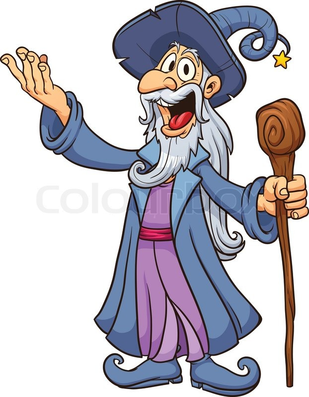 happy cartoon wizard stock vector colourbox