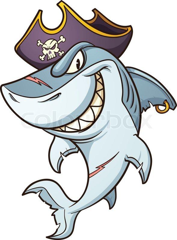 Cartoon Pirate Shark Vector Clip Art Illustration With