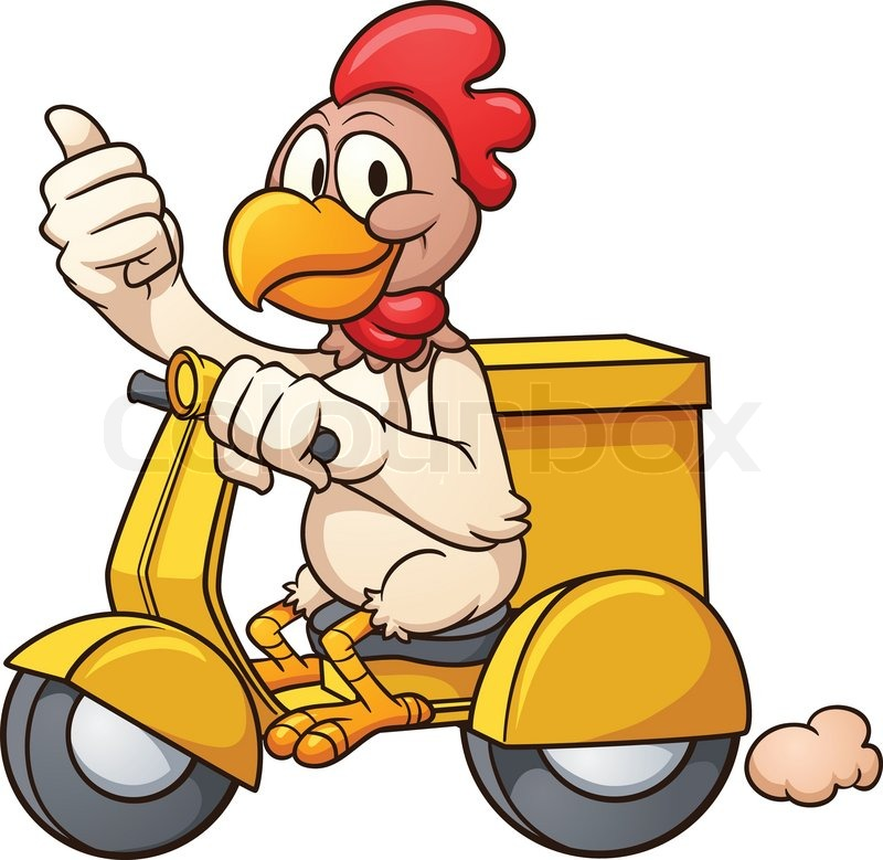 Cartoon chicken on a delivery scooter. Vector clip art ...
