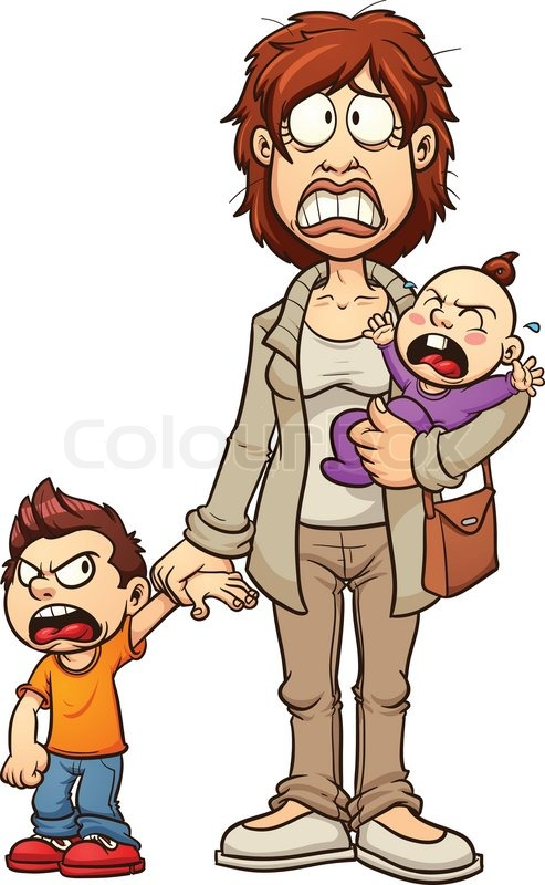 stressed out mom vector clip art illustration with simple gradients rh colourbox com stress clip art funny stress clip art funny