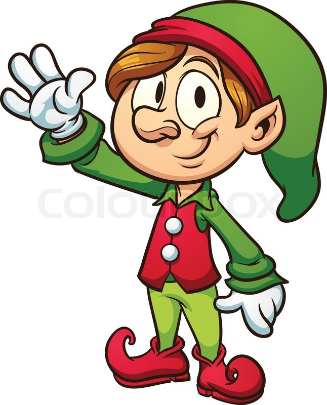 christmas elf vector clip art illustration with simple gradients