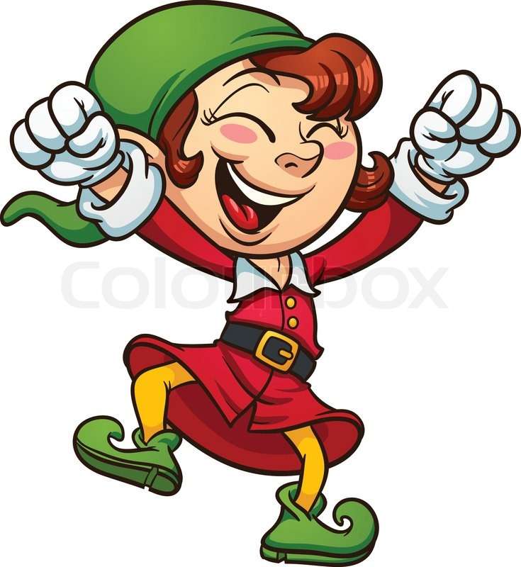 exited christmas elf dancing  vector clip art illustration with simple gradients all in a clipart hula hoop clipart hula hoop