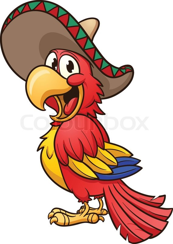Cartoon Characters Mexican : Cartoon mexican parrot vector clip art illustration with