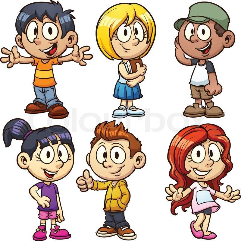 Cute cartoon boys and girls. Vector clip art illustration with simple ...: colourbox.com/vector/cute-cartoon-boys-and-girls-vector-6978070