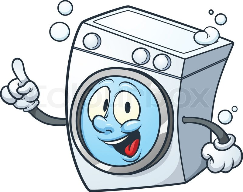 Cartoon Washing Machine Vector Clip Art Illustration With
