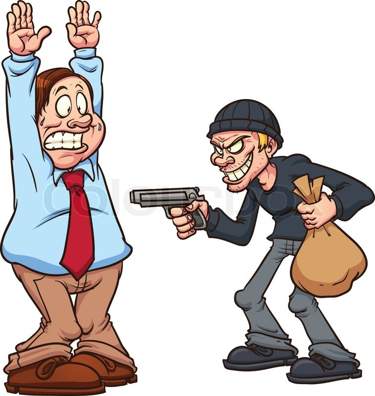 fat man being robbed by a thief at gunpoint stock vector Sweating Cartoon Sweating Cartoon