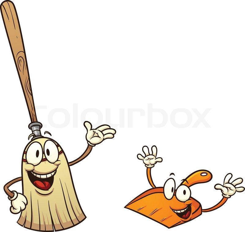 Cute Cartoon Broom And Dustpan Vector Illustration With
