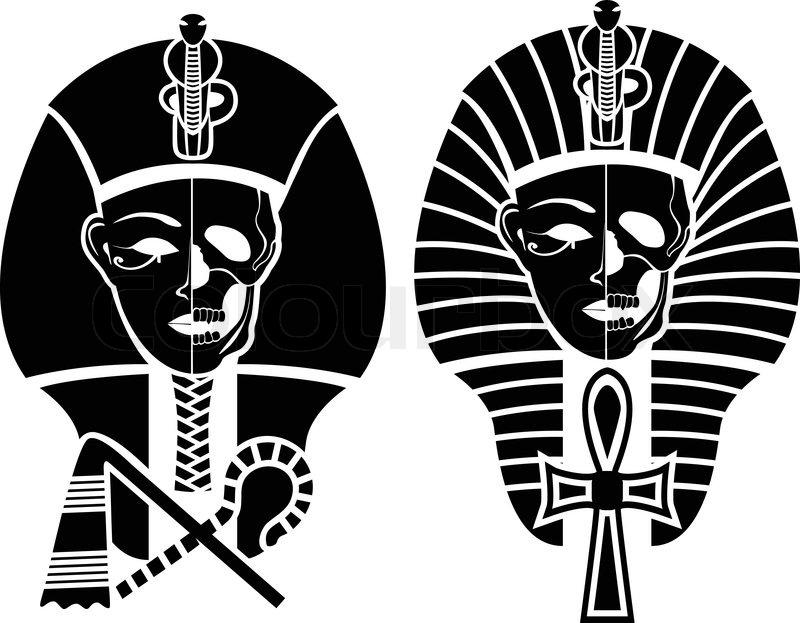 Egyptian Symbol Of Death Half Skull Face Pharaoheps Stock Vector