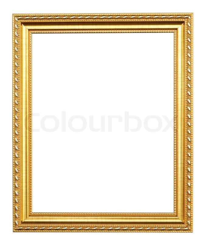 Goldener Bilderrahmen auf weißem Hintergrund | Stockfoto | Colourbox