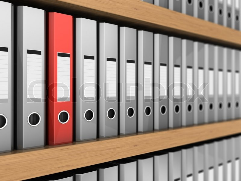 Row Of Grey Ring Binders With One Red Stock Photo