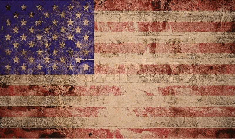 American Flag On A Map Of The USA In Vintage And Grunge Style