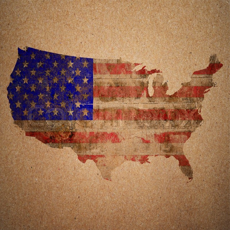 American Flag On A Map Of The USA In Vintage Style Stock Photo - Us flag on the map