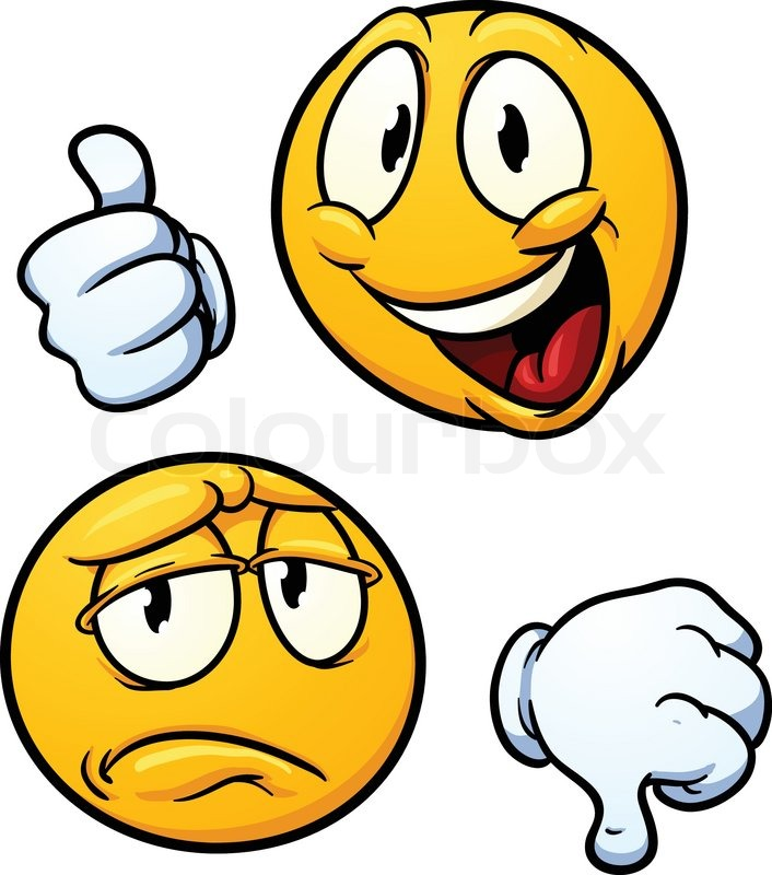 thumbs up and thumbs down emoticons vector illustration with simple
