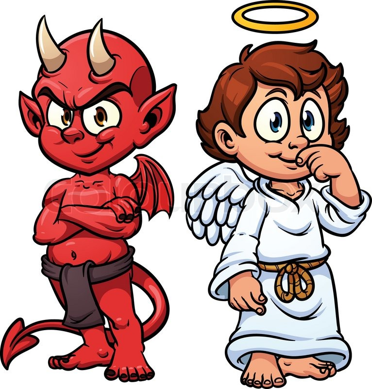 Cartoon little angel and devil vector illustration with simple gradients each in a separate - Free evil angel pictures ...