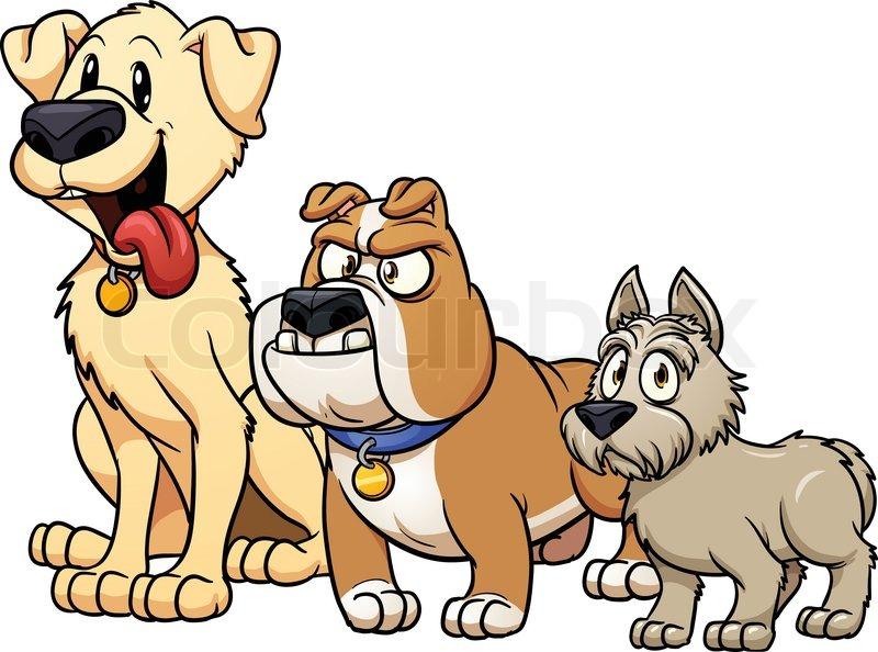 Cute Cartoon Dog Breeds Vector Stock Vector Colourbox
