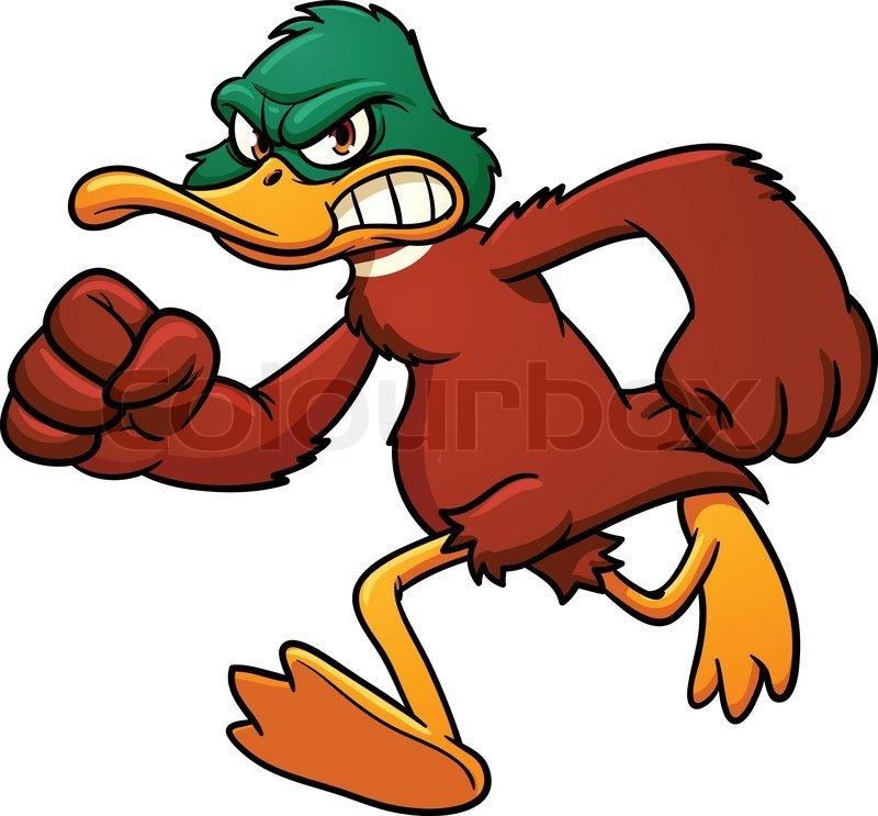 Angry cartoon duck mascot running. Vector illustration wit ...