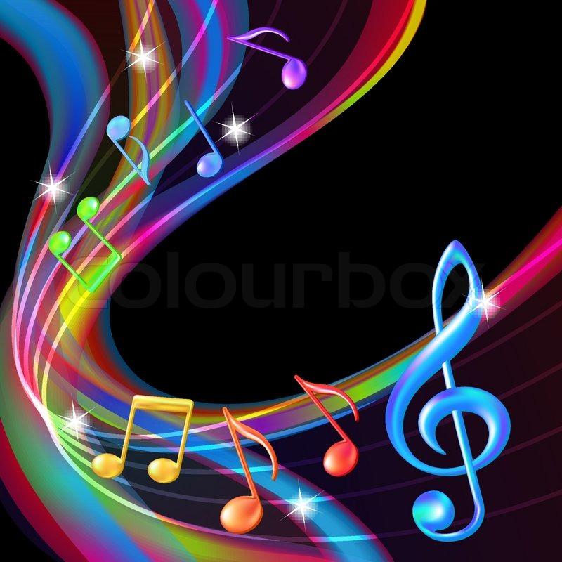 Bunte abstrakte Hintergrund Musik Noten | Stock-Vektor ...
