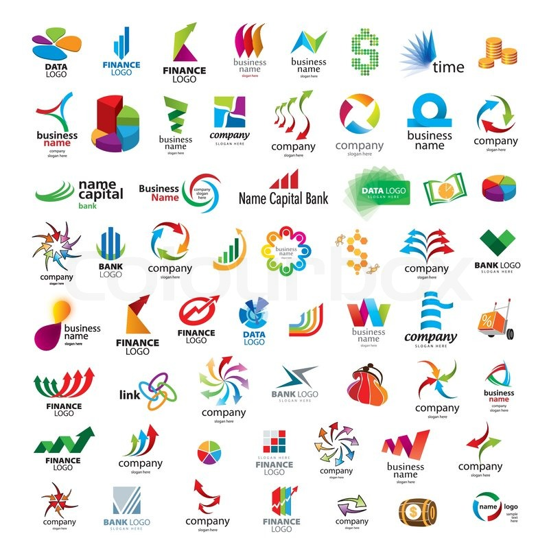 List Of Company Logos Symbols >> Collection of vector icons for banks and financial companies | Stock Vector | Colourbox