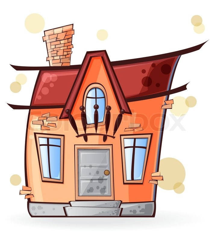 Animated House Windows : Cartoon home with the windows and door isolated on