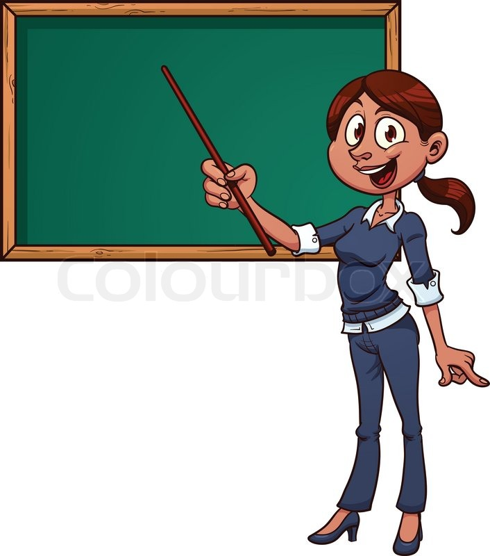 Cute Cartoon Teacher And Chalkboard Vector Illustration With Simple Gradients On Separate Layers For Easy Editing