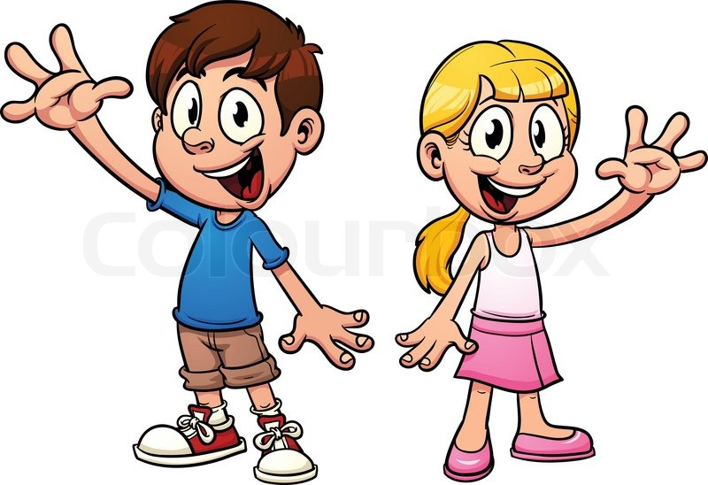 cute cartoon kids waving hello vector illustration with simple gradients each in a separate layer vector