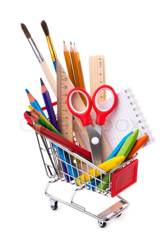 office drawing tools. school or office supplies drawing tools in a shopping cart