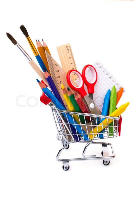 office drawing tools. School Or Office Supplies, Drawing Tools In A Shopping Cart, Stock Photo
