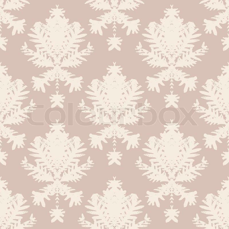 simple elegant block printed seamless vector pattern with damask