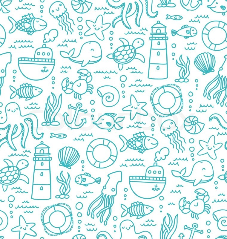 Sea Doodles Vector 6994108 on Educational Stuff
