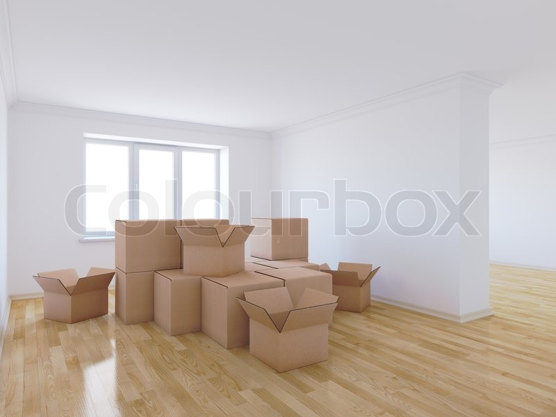 Stock image of '3d render of moving boxes in empty room'