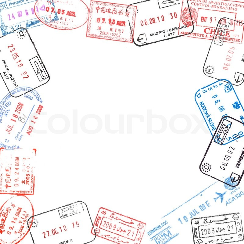 Frame from various passport visa stamps | Stock Photo | Colourbox