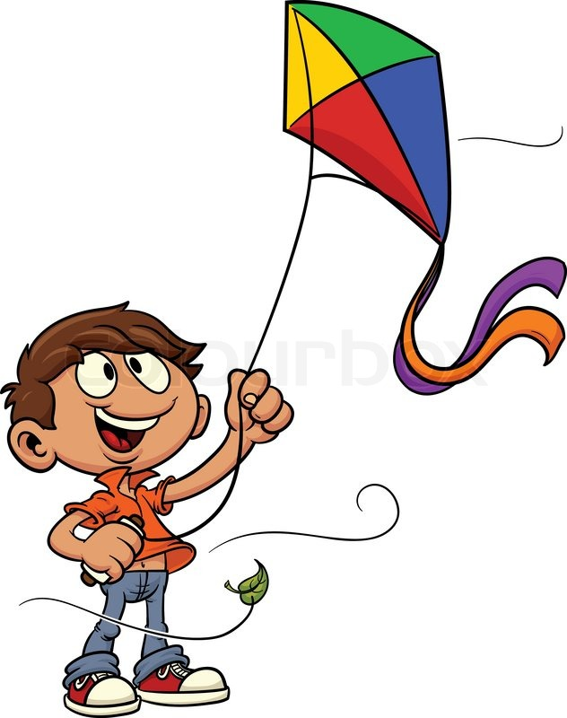Cartoon Kid Playing With Kite Vector Illustration All In