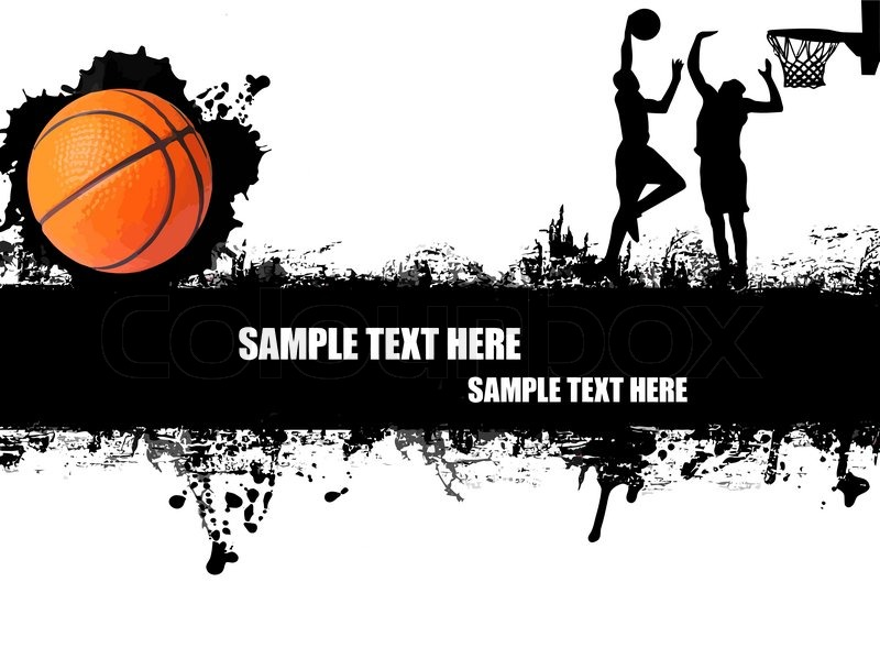 Grunge basketball poster with players and ball on black and whitevector illustration stock vector colourbox
