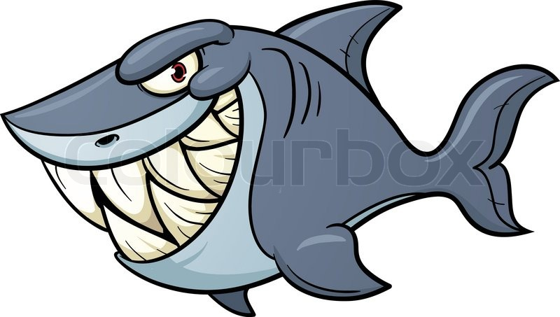 evil cartoon shark vector illustration with simple Shark Week Logo Hammerhead Shark Logo