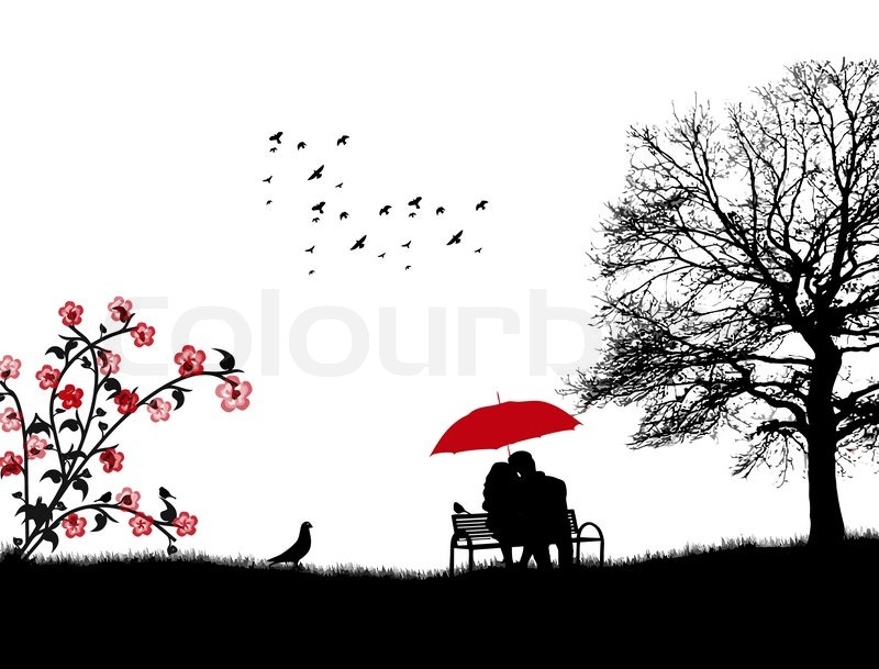 Lovers In A Park On The Bench Under Stock Vector Colourbox