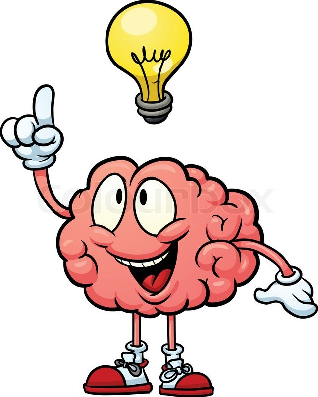 cute cartoon human brain