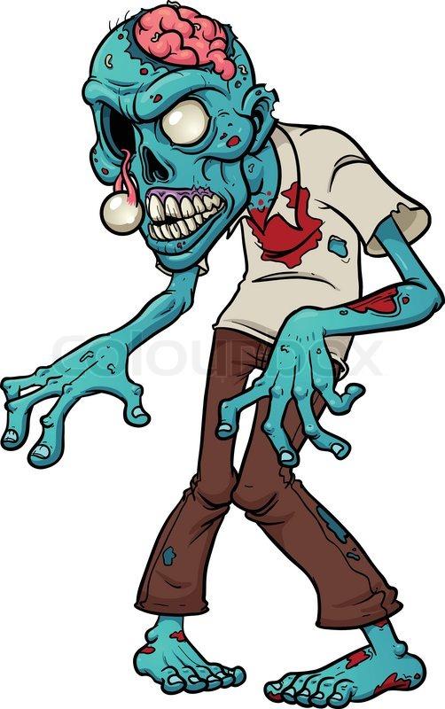 Cartoon zombie. Vector illustration with simple gradients ...