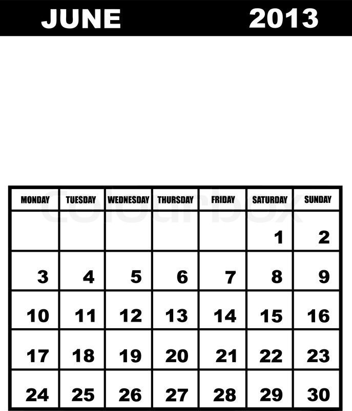 June Calendar Vector : June calendar stock vector colourbox