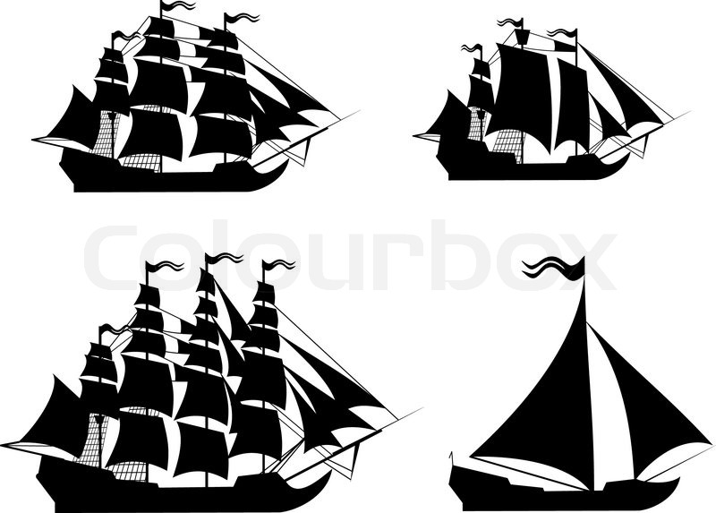 Vector Ships Set With Separate Editable Elements Stock